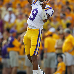 Sep 18, 2010; Baton Rouge, LA, USA;  LSU Tigers quarterback Jordan Jefferson (9) throws during warms ups prior to a game against the Mississippi State Bulldogs at Tiger Stadium.  Mandatory Credit: Derick E. Hingle
