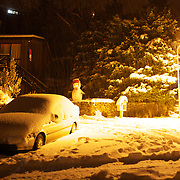 A street scene at night after the biggest snow storm in New Zealand in the past 50 years. Queenstown, New Zealand, 16th August 2011. Photo Tim Clayton