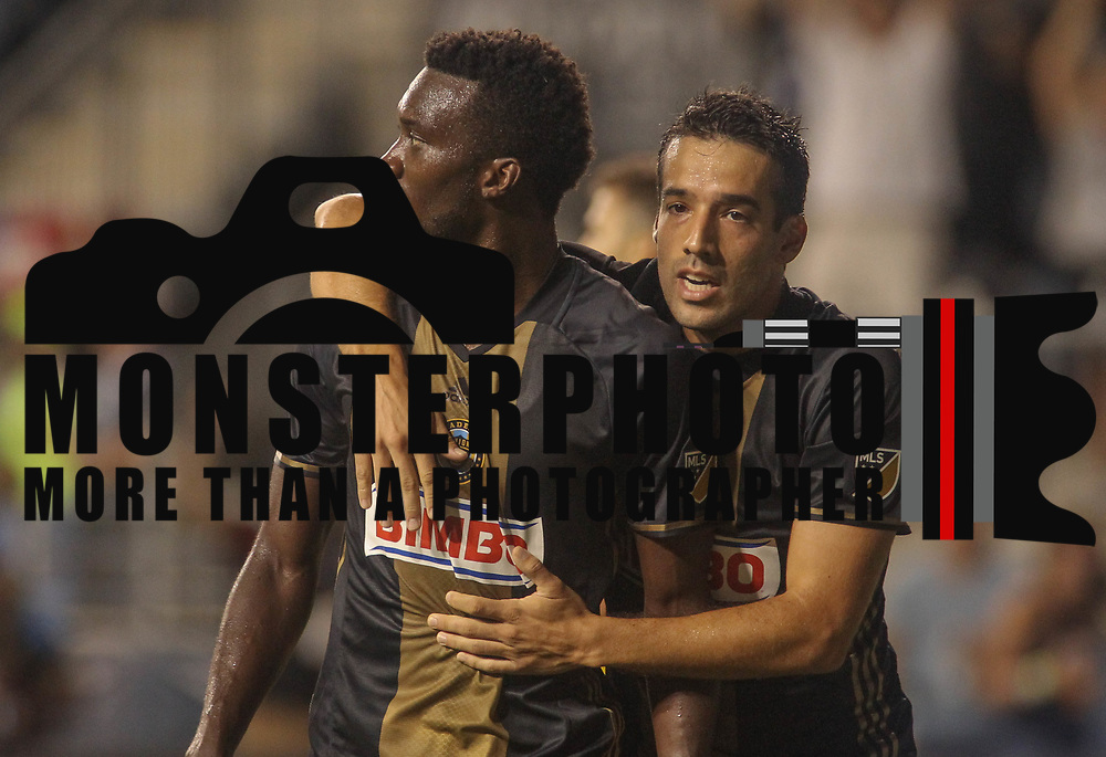 Philadelphia Union Attacker C.J. SAPONG (17) celebrates his goal with teammate Philadelphia Union Midfielder ILSON PEREIRA DIAS (25) in the second half of a Major League Soccer match between the Philadelphia Union and Columbus Crew SC Wednesday, July. 26, 2017, at Talen Energy Stadium in Chester, PA.