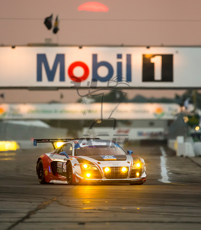 Sebring, FL - Mar 19, 2015:  The Paul Miller Audi R8 LMS races through the turns at 12 Hours of Sebring at Sebring Raceway in Sebring, FL.