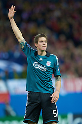 MADRID, SPAIN - Wednesday, October 22, 2008: Liverpool's Daniel Agger in action against Club Atletico de Madrid during the UEFA Champions League Group D match at the Vicente Calderon. (Photo by David Rawcliffe/Propaganda)