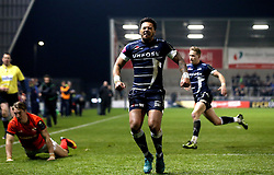 Denny Solomona of Sale Sharks looks angry after missing a chance to score a debut try - Mandatory by-line: Robbie Stephenson/JMP - 18/12/2016 - RUGBY - AJ Bell Stadium - Sale, England - Sale Sharks v Saracens - European Champions Cup