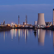 Stanlow oil refinery at dusk