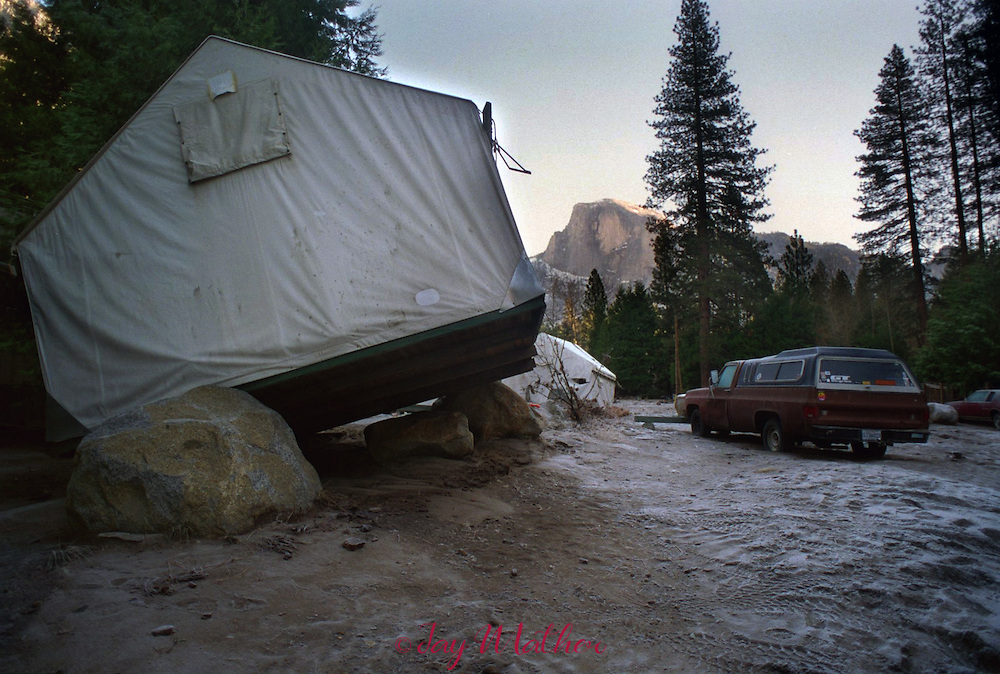 Floodwater inundated Camp 6 located in the Merced River floodplain.  The cabins were occupied most;y be park employees.