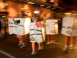 31October, 2005. New Orleans, Louisiana. <br /> Halloween, post Katrina, New Orleans. As the city returns to a strange sense of normalcy and the citizens return, New Orleans once again hosts a Halloween parade and party. The parade makes its way down Bourbon Street with participants dressed as refrigerators.  <br /> Photo; ©Charlie Varley/varleypix.com