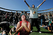 Worshipers pray during a sermon at The Call Fast and Prayer Service at Qualcomm Stadium. The  predominant theme of the rally was for family values and a call to support California Propositon 8 which would ban Gay marriage.