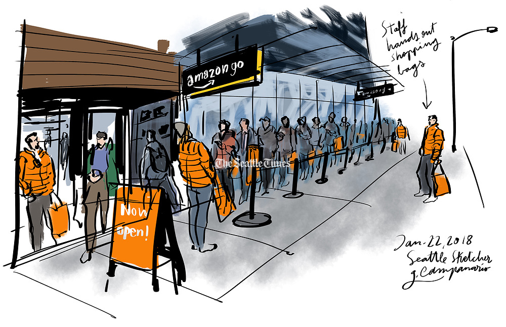 Amazon Go, the world's first ever cashier-free store, opened to the public in Seattle. The novelty drew long lines around the Day 1 building. (Gabriel Campanario / The Seattle Times)