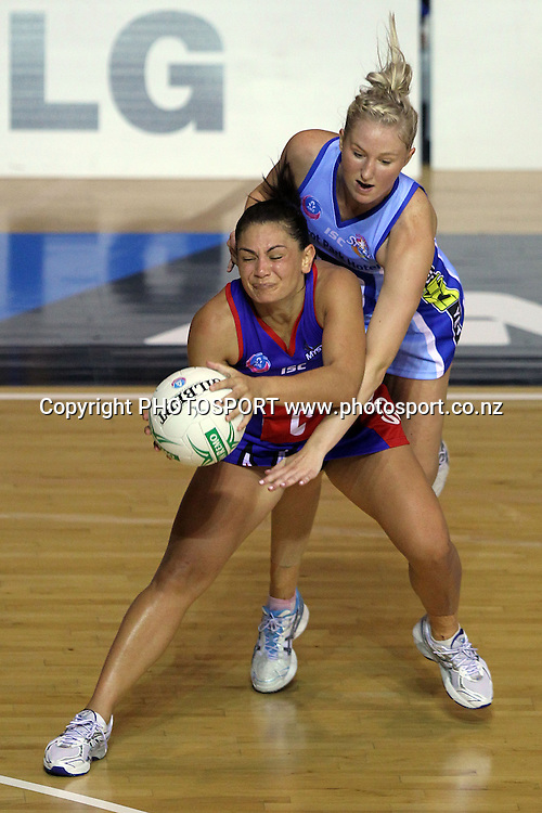 Mystics' Temepara George gets the ball ahead of Steel's Hayley Saunders. LG Northern Mystics v Southern Steel. ANZ Netball Championship. Trusts Stadium, Auckland, New Zealand. Monday 14th February 2011. Photo: Anthony Au-Yeung / photosport.co.nz