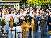 21 AUGUST 2015 - BANGKOK, THAILAND: The Bangkok Metropolitan Administration (BMA) held a religious ceremony Friday for the Ratchaprasong bomb victims. The ceremony started with a Brahmin blessing at Erawan Shrine, which was the target of a bombing Monday night. After the blessing people went across the street to the plaza in front of Central World mall for an interfaith religious service. Theravada Buddhists, Mahayana Buddhists, Muslims, Sikhs, Hindus, and Christians participated in the service. Life at the shrine, one of the busiest in Bangkok, is returning to normal. Friday the dancers and musicians who perform at the shrine resumed their schedules.     PHOTO BY JACK KURTZ