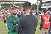 Dan Christian doing media during the NatWest T20 Final match between Birmingham Bears and Notts Outlaws at Edgbaston, Birmingham, United Kingdom on 2 September 2017. Photo by Simon Trafford.