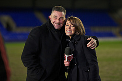 BIRKHENHEAD, ENGLAND - Monday, February 28, 2011: Liverpool FC television reporter Claire Rourke and Liverpool legend John Aldridge during the FA Premiership Reserves League (Northern Division) match between Liverpool and Blackburn Rovers at Prenton Park. (Photo by David Rawcliffe/Propaganda)