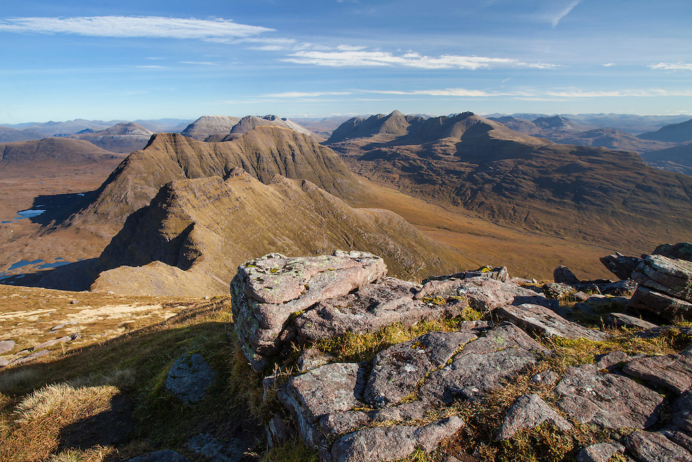 View from Sgurr Mor to Horns of Alligin, Beinn Dearg, Liathach and Beinn Eighe, Torridon, Wester Ross, Scotland