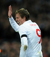 Peter Crouch Celebrates Scoring 1st goal<br /> England 2008/09<br /> England V Ukraine 01/04/09 World Cup Qualifier at Wembley Stadium <br /> Photo Robin Parker Fotosports International