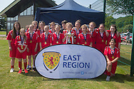 Farmington with the cup - Forfar Farmington (red) v Raith Rovers (dark blue) - Under 15 East Region Girls League Cup Final at University Grounds, Riverside<br /> <br />  - &copy; David Young - www.davidyoungphoto.co.uk - email: davidyoungphoto@gmail.com