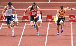 07-03-2015 CZE: European Athletics Indoor Championships, Prague<br /> Meerkamper Eelco Sintnicolaas is goed begonnen aan de zevenkamp bij de EK indoor atletiek in Praag. De titelverdediger zette op het openingsnummer, de 60 meter, de vierde tijd neer met 6,98 seconden. Links Nielks Pittomvils BEL, Bastien Auzeil FRA