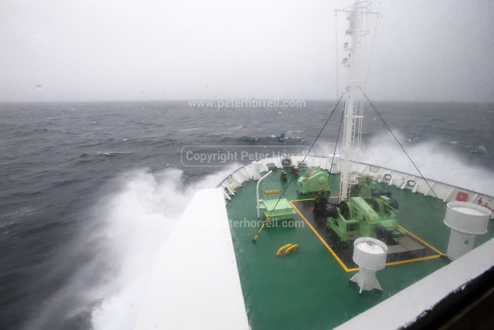 The sea splashes over the bow of m/v Ortelius en route from the Falkland Islands to Antarctica on Tuesday 13 February 2018.