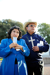 "Margarita Rios, left, and her husband Gregorio, from Seaside at a mid-November dedication ceremony at Closter Park in Salinas. The group ""A Time for Grieving and Healing"" unveiled a memorial to victims of violence in Monterey County. Their nephew, Juan Guillen, of Salinas, was one."
