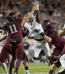 Mississippi State linebacker Gerri Green (4) pressures Texas A&M quarterback Kellen Mond (11) during the third quarter of an NCAA college football game on Saturday, Oct. 28, 2017, in College Station, Texas. (AP Photo/Sam Craft)