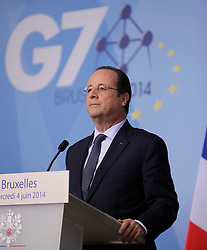 © Licensed to London News Pictures. 04/06/2014. BRUSSELS, BELGIUM.<br /> François Hollande, French President, GIVES A PRESS CONFERENCE AT THE G7 SUMMIT IN BRUSSELS THIS EVENING AFTER THE WORKING DINNER WITH G7 LEADERS. Photo credit : RICH BOWEN/LNP