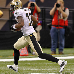 Oct 24, 2010; New Orleans, LA, USA; New Orleans Saints wide receiver Marques Colston (12) against the Cleveland Browns during the second half at the Louisiana Superdome. The Browns defeated the Saints 30-17.  Mandatory Credit: Derick E. Hingle