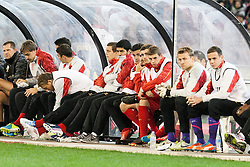 © Licensed to London News Pictures. 24/7/2013. Luis Suarez on the bench during the Melbourne Victory Vs Liverpool F.C at the Melbourne Cricket Ground, Melbourne, Australia. Photo credit : Asanka Brendon Ratnayake/LNP