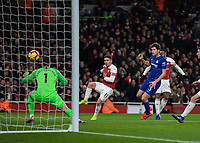 Football - 2018 / 2019 Premier League - Arsenal vs. Chelsea<br /> <br /> Alexandre Lacazette (Arsenal FC) hidden by Marcos Alonso (Chelsea FC)  puts Arsenal ahead at The Emirates.<br /> <br /> COLORSPORT/DANIEL BEARHAM