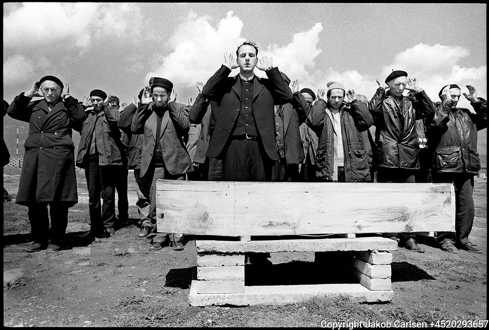 During the spring of 1999 thousands fled from the war in Kosovo to the neighboring country Albania. Burial of a woman who has been killed by a mine close to the border crossing at Kukes.
