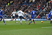 Preston North End Midfielder Adam Reach scores during the Sky Bet Championship match between Preston North End and Brentford at Deepdale, Preston, England on 23 January 2016. Photo by Pete Burns.