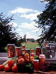 Jars landscape assortment home made homemade jams jellies bucolic farm landscape scene barn copy space Bon Appetit