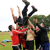 Ennis International celebrate after winning the 7 aside soccer tournament as part of the Intercultural Festival in St. Flannans on Saturday.<br /> Photograph by Yvonne Vaughan