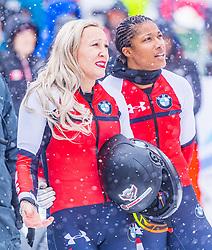 18.01.2020, Olympia Eiskanal, Innsbruck, AUT, BMW IBSF Weltcup Bob und Skeleton, Igls, Bob Zweisitzer, Damen, 2. Lauf, im Bild Kaillie Humphries, Sylvia Hoffmann (USA) // Kaillie Humphries Sylvia Hoffmann of the USA reacts after her 2nd run of women's doubles Bobsleigh of BMW IBSF World Cup at the Olympia Eiskanal in Innsbruck, Austria on 2020/01/18. EXPA Pictures © 2020, PhotoCredit: EXPA/ Stefan Adelsberger