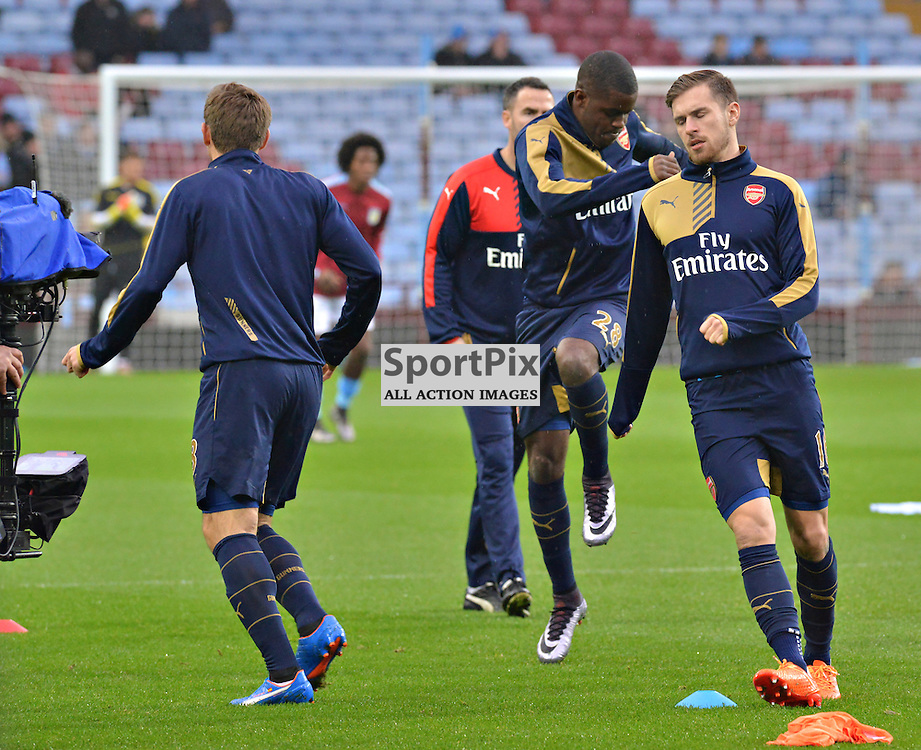 Arsenal's Aaron Ramsey warms-up before the game at Villa....(c) BILLY WHITE | SportPix.org.uk