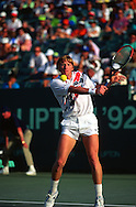 Former Wimbledon tennis champion Boris Becker plays at the Lipton tournament on Key Biscayen in Miami, March 1992.