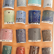 Glaze samples at Cynthia Curtis Pottery, Rockport, MA