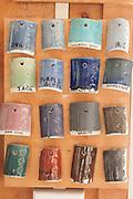 Glaze samples at Cynthia Curtis Pottery, Rockport, MA