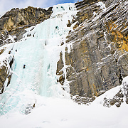 "Shane Nelson and Matt Ward climb Upper Weeping Wall ""Weeping Pillar"" WI5-6 on the  Icefields Parkway"