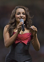 Manchester, England - Tuesday, March 13, 2007: Opera singer xxxx performs 'Barcelona' before the UEFA Celebration Match between Manchester United and a Europe XI at Old Trafford. (Pic by David Rawcliffe/Propaganda)