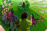 Umbrella making, Bo Sang umbrella village, near Chiang Mai, Northern Thailand