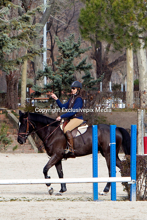 MADRID, SPAIN, 2015, DECEMBER 20 <br /> <br /> Princess Elena birthday<br /> <br /> Princess Elena enjoys her greatest passion on the day of her 52nd birthday. She rode one of his horses and made some jumps without much difficulty. She continues to ride despite having fallen off on several occasions. Whenever possible, take the opportunity to share the sport with her daughter Victoria Federica, she spent the day surrounded by family and friends in the strictest privacy. She was very aware of where her cell phone probably received several congratulations.<br /> ©Exclusivepix Media