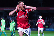 Adam Rooney of Salford City (9) scores a goal and celebrates to make the score 2-1 during the Vanarama National League match between Salford City and FC Halifax Town at Moor Lane, Salford, United Kingdom on 14 August 2018.