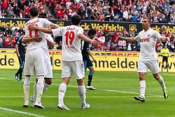 14.05.2010,  Rhein Energie Stadion, Koeln, GER, 1.FBL, FC Koeln vs Schalke 04, 34. Spieltag, im Bild: Torjubel / Jubel nach dem 1:0 durch Milivoje Novakovic (Koeln #11) (L) mit Mato Jajalo (Koeln #19), Adil Chihi (Koeln #20) und Lukas Podolski (Koeln #10) (R)  EXPA Pictures © 2011, PhotoCredit: EXPA/ nph/  Mueller       ****** out of GER / SWE / CRO  / BEL ******
