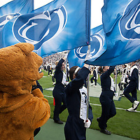 The Penn State Blue Band marches onto the field prior to the Nittany Lions game against the Illinois Fighting Illini on November 2, 2013 at Beaver Stadium in University Park, Pennsylvania.