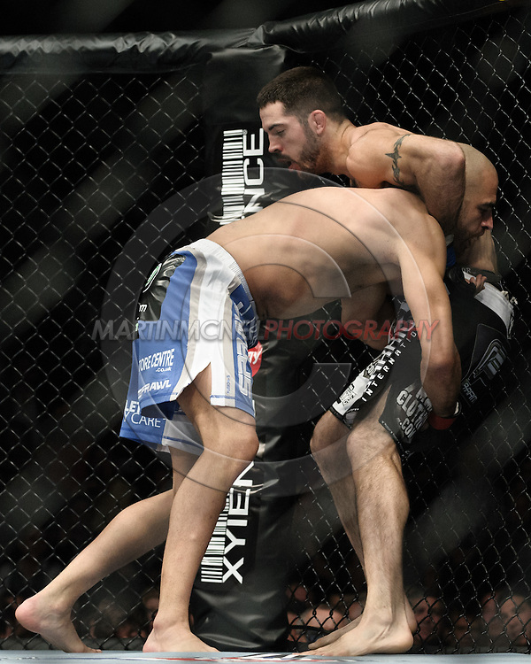 "MANCHESTER, ENGLAND, NOVEMBER 14, 2009: James Wilks (left) and Matt Brown during ""UFC 105: Couture vs. Vera"" inside the MEN Arena in Manchester, United Kingdom."