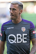 MELBOURNE, VIC - JANUARY 19: Perth Glory defender Jason Davidson (3) looks on during warm up at the Hyundai A-League Round 14 soccer match between Melbourne City FC and Perth Glory at AAMI Park in VIC, Australia 19th January 2019. Image by (Speed Media/Icon Sportswire)