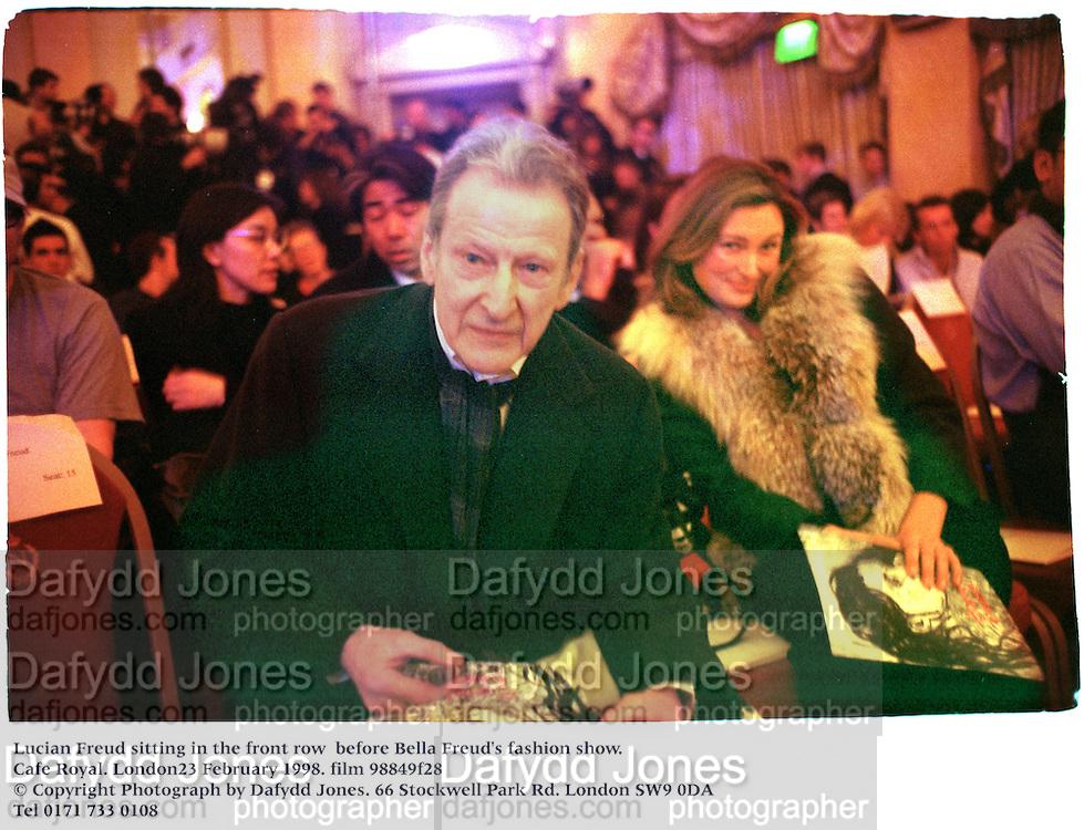 Lucian Freud sitting in the front row  Bella Freud's fashion show. Cafe Royal. London23 February 1998. film 98849f28<br />&copy; Copyright Photograph by Dafydd Jones<br />66 Stockwell Park Rd. London SW9 0DA<br />Tel 0171 733 0108