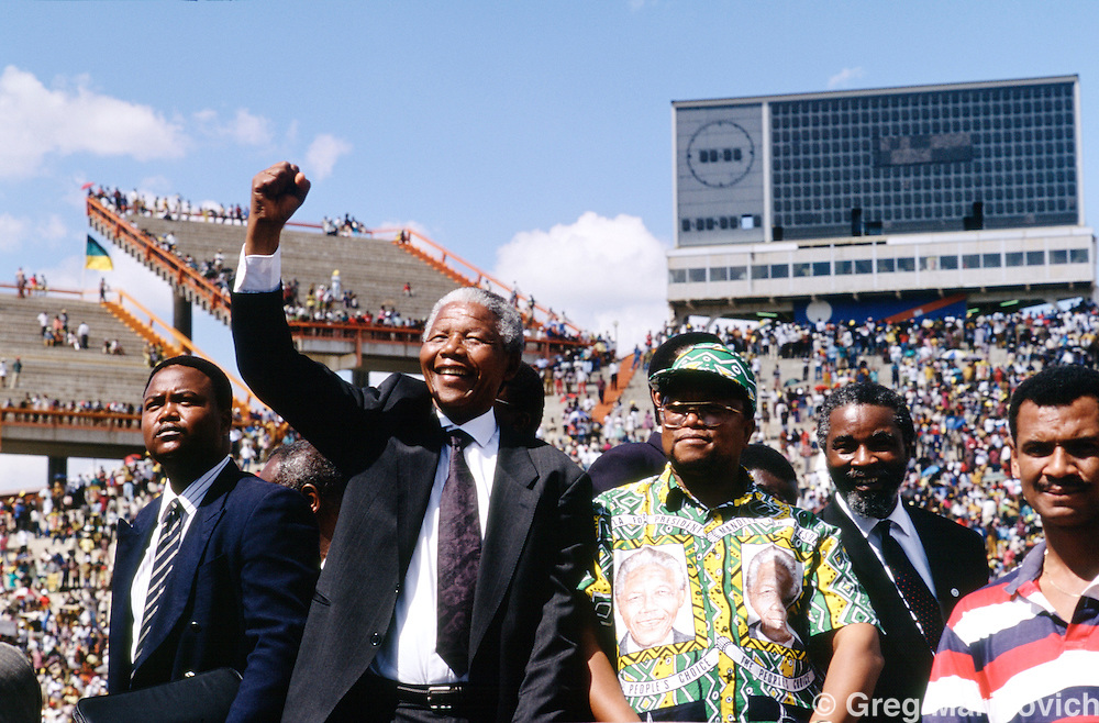 Mmbatho, Bophuthatswana, South Africa, 1994: Nelson Mandela campaigns in the homeland of Bophuthatswana ahead of the first democratic elecions in 1994.
