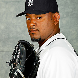 February 28, 2012; Lakeland, FL, USA; Detroit Tigers relief pitcher Jose Valverde (46) poses for photo day in the rec room at the Detroit Tigers Headquarters.  Mandatory Credit: Derick E. Hingle-US PRESSWIRE