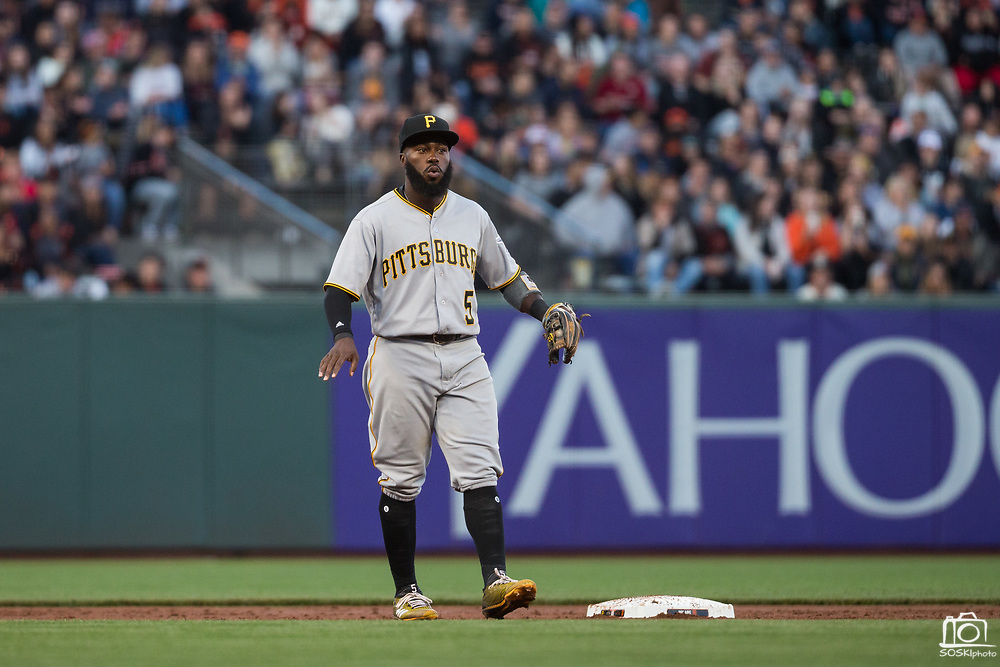 Pittsburgh Pirates second baseman Josh Harrison (5) calls for a time out during a play against the San Francisco Giants at AT&T Park in San Francisco, California, on July 25, 2017. (Stan Olszewski/Special to S.F. Examiner)