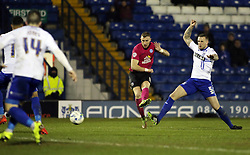 Marcus Maddison of Peterborough United scores his sides only goal of the game - Mandatory byline: Joe Dent/JMP - 01/03/2016 - FOOTBALL - Gigg Lane - Bury, England - Bury United v Peterborough United - Sky Bet League One