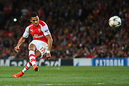 Alexis Sanchez of Arsenal takes a free-kick that is subsequently saved during the UEFA Champions League match at the Emirates Stadium, London<br /> Picture by David Horn/Focus Images Ltd +44 7545 970036<br /> 27/08/2014